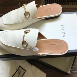 Gucci Princetown white leather slippers Worn 3x